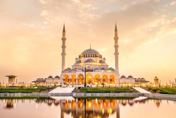 Sharjah Mosque second biggest mosque in United Arab Emirates beautiful traditional Islamic architecture new famous tourist attraction in Middle east, Travel and tourism Concept image