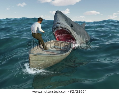 Shark attacks man in a boat - stock photo