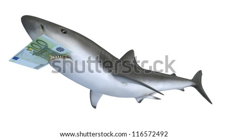 shark biting a euror banknote, 3d illustration