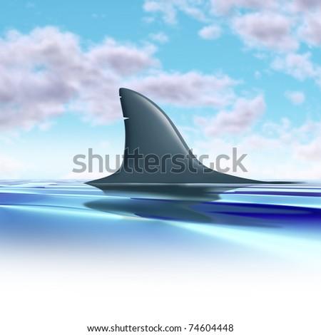 Shark fin above water representing future danger and risk from predators.