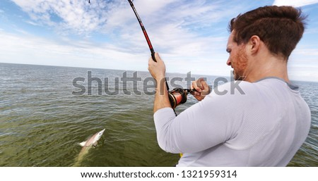 Shark fishing big game spinner shark biting bait man fisher reeling in animal in catch and release sports activity on water. Boat tour.
