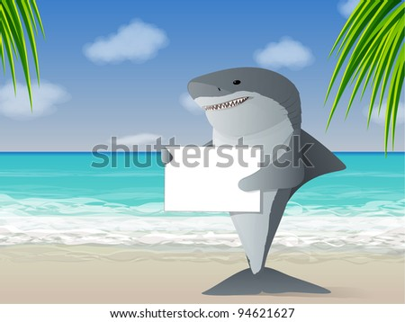 Shark holding a sign at the beach