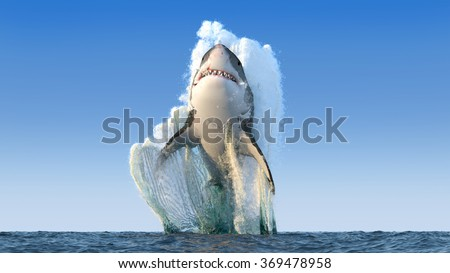 Shutterstock Shark jumps out of the water