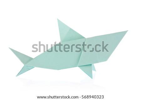 Shark of origami. Isolated on white background #568940323