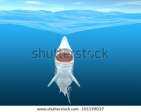 Shark - Ready to Strike. A shark with its mouth open wide coming up to the ocean surface. Ready to use or add your own victim .