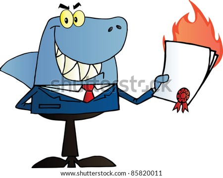 Shark Salesman Holding A Bad Contract In His Hand