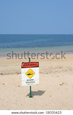 shark sighted sign at Spencer Beach Park, Big Island, HI.