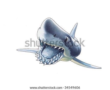 Shark with widely opened mouth