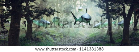 sharks swimming in forest, surrealistic scene with a group of sharks flying in foggy fantasy landscape, surreal 3d illustration banner