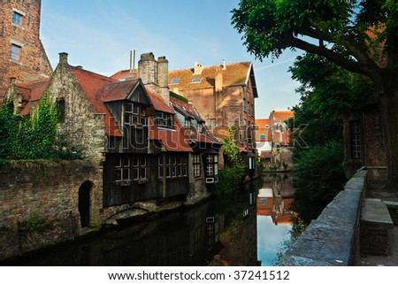 Sharming canals and buildings of old Brugge (Bruges), Belgium