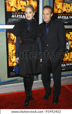 """SHARON STONE & JAY ACOVONE at the world premiere of her new movie """"Alpha Dog"""" at the Arclight Theatre, Hollywood. January 3, 2007  Los Angeles, CA Picture: Paul Smith / Featureflash"""