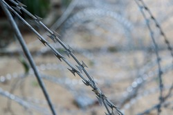 Sharp barbed wire shape with background blur and selective focus