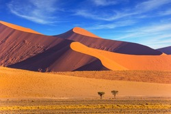 Sharp border of light and shadow over the crest of the dune. The Namib-Naukluft at sunset. Namibia, South Africa. The concept of extreme and exotic tourism