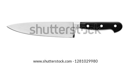 Sharp...do not touch! Chef's kitchen knife isolated on white background ,included clipping path