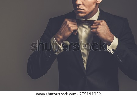 Sharp dressed man wearing jacket and bow tie Foto stock ©