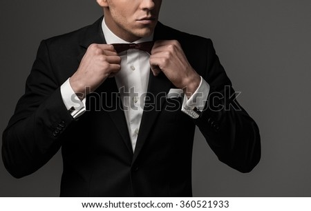 Sharp dressed man wearing jacket and bow tie Stock photo ©
