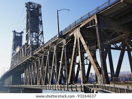 Sharp image of bridge railing post with very soft image of Portland in background