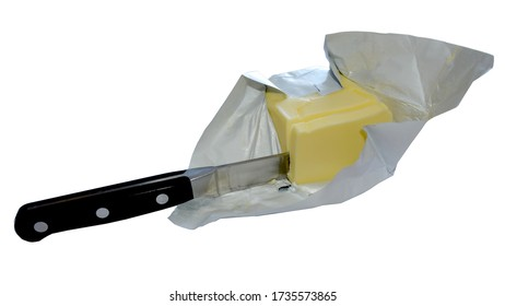 Stock photo of a sharp kitchen knife slicing through butter on a plain white background