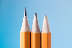 Sharp pencil, dull pencil and broken pencil. Variation, life cycle, wear and aging, concept.