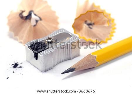 sharp pencil, sharpener and shavings
