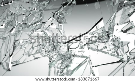 Sharp Pieces of shattered glass isolated on white. Large size