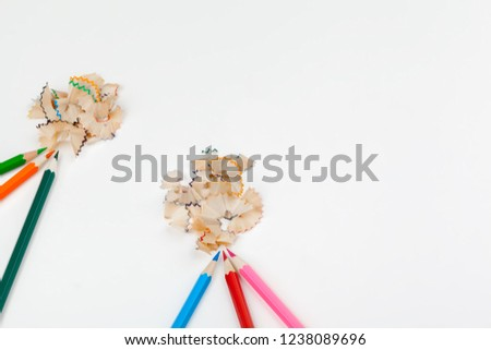 sharped pencils with Pencil Shaving isolated on white #1238089696