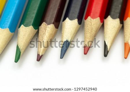 Sharpen pencils close-up background, Group of multicolor pencils. #1297452940