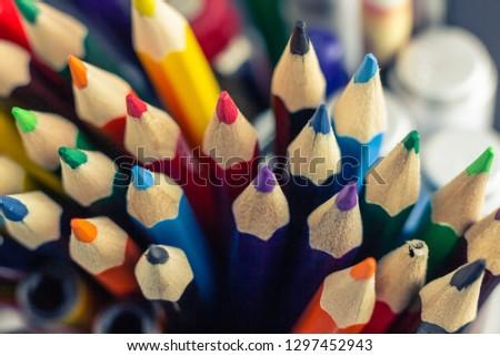 Sharpen pencils close-up background, Group of multicolor pencils. #1297452943