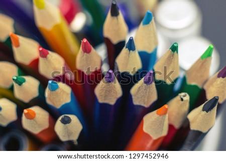 Sharpen pencils close-up background, Group of multicolor pencils. #1297452946