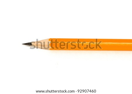 Sharpened Pencil Close Isolated on a White Background