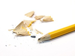 Sharpened Pencil with a Broken Tip on a white background