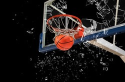 Shattered backboard.Basketball concept on dark background