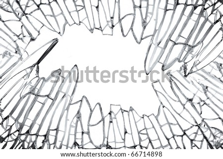 Shattered glass against white for creative image montage