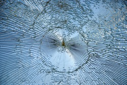 Shattered glass on a window