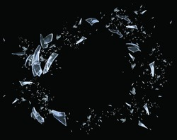 Shattered glass on black background