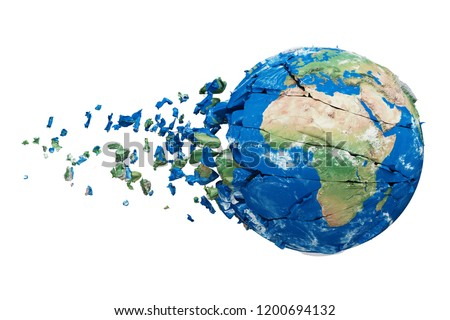 Shattering Earth globe 3d realistic illustration. Destroying cracked world sphere with particles, fragments. Planet model with explosion effect. Ecological catastrophe. Raster design element