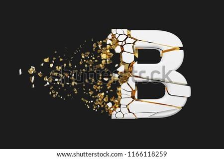 Shattering letter B realistic raster illustration. Uppercase letter with explosion effect on black background. Isolated design element. Company logo, label. Destroying white alphabet symbol fragments