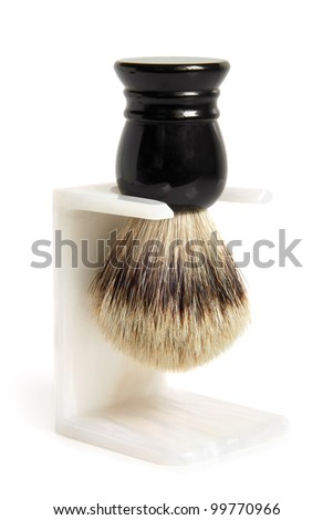Shaving brush on a white background - stock photo
