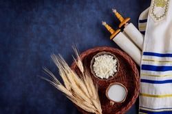 Shavuot kosher food fresh dairy products milk, cottage cheese wheat harvest festival