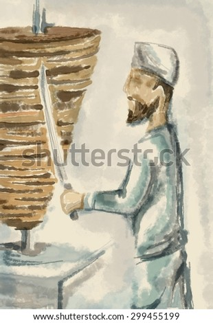 Shawarma Food Painting, Arabic Restaurant Chef (Digital Art, Raster))