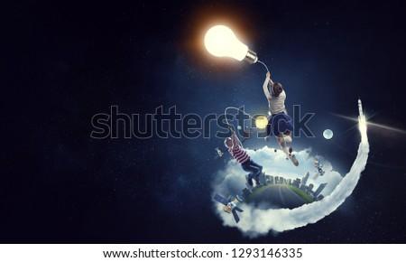 She got bright idea. Mixed media #1293146335