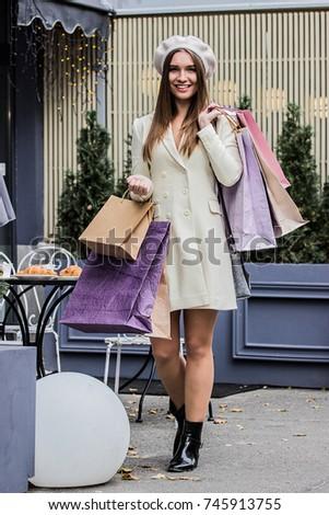 she loves shopping. full length ...