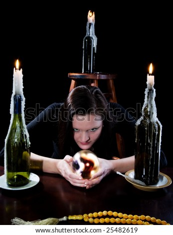She read the black background with candle