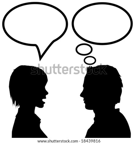 She says he listens. A couple discuss as the woman talks in a speech bubble and the man listens and thinks in a thought bubble. Includes 4 clipping paths.