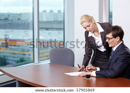 She signed the papers of his boss