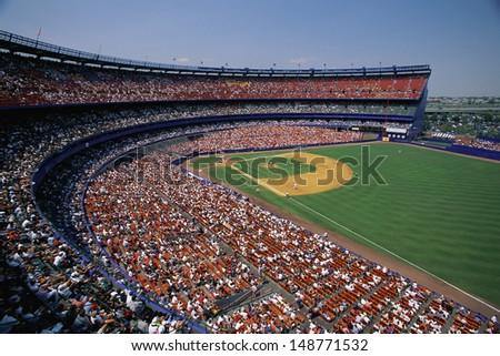 SHEA STADIUM (OLD ONE), NEW YORK, NY - CIRCA 1980\'s: Interior of baseball stadium in Shea Stadium in New York