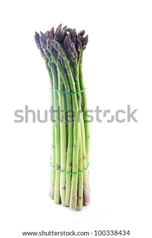 Sheaf of asparagus on a white background
