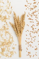 Sheaf of wheat ears close up and seeds, chaff on white background. Natural cereal plant, harvest time concept. Flat lay
