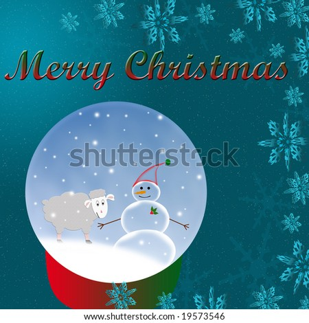 Sheep and Snowman Globe on Christmas Background