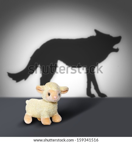 Sheep and wolf shadow. Contept graphic.  Foto stock ©